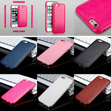 Fashion Aluminum Metal Bumper Frame Leather Case Cover For Apple iPhone 6 S Plus