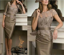 Knee length Mother of the bride  lace dress 3/4 sleeve mother dress Free jacket