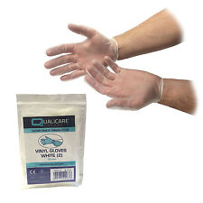 QUALICARE DISPOSABLE WHITE VINYL POWDER FREE MEDICAL INDIVIDUAL PACKED GLOVES