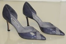$775 NEW MANOLO BLAHNIK BB Dorsay Purple patent Leather Suede  Shoes Heels 37