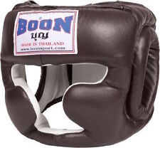 BOONSPORT MUAY THAI KICKBOXING SPARRING HEADGEAR -HGSMBK-LEATHER (MMA,MUAY THAI)
