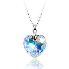 18K White GOLD Filled Love HEART NECKLACE SWAROVSKI CRYSTAL Gift S1018 Clear