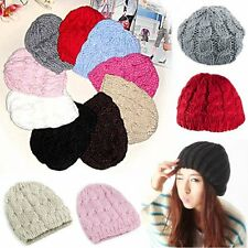 Stylish Women Girls Crochet Knit Winter Beret Braided Baggy Beanie Hat Top Cap