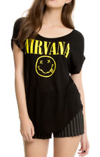 Nirvana Kurt Cobain SMILEY FACE Girls T-Shirt NEW Official & Licensed