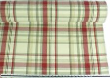 Tartan Check Wool Look and Feel Cream Red Upholstery Fabric Material *2 Sizes*