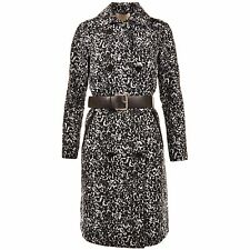 MICHAEL KORS Black White Animal Print Belted Trench Coat Jacket XS NEW WITH TAGS