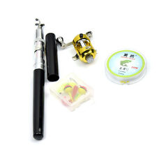 Portable Mini Pocket Pen Shape Fishing Rod Pole with Round Reel Bait Line
