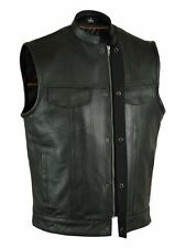 Men's Concealed Carry Black Leather Club & Biker Vest with Zipper and Snaps