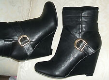RRP £40 LAUREANA SIZE 4 5 6 7 8 BLACK FAUX LEATHER HIGH HEEL WEDGE ANKLE BOOTS