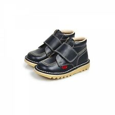 Kickers KICK KILO Infant Leather Velcro Chunky Casual Ankle Boots Navy Blue