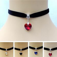 Lolita Velvet Choker Necklace Crystal Heart Pendant Bridal GOTHIC WICCA PAGAN