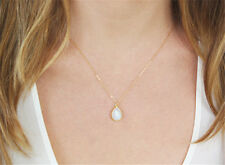 STUNNING Opaline moonstone Tear Drop PENDANT Chain necklace Gold silver plated