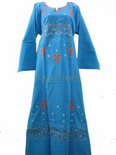 Egyptian Cotton Embroidered Galabeya Abaya Islamic Dress Turquoise Jilbab Kaftan
