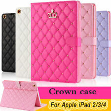 Luxury Crown Slim Smart Wake PU Leather Case Cover Stand For Apple iPad 2 3 4