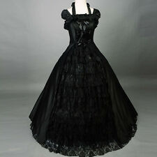 Victorian Gothic Black halter Bandage Ball Gown formal party prom Lolita Dress