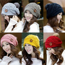 Hot Womens Girls Warm Winter Popular Button Beanies Knit Thick Ski Cap Hat 12