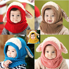Winter Beanie Baby Kids Girls Warm Hat Hooded Scarf Earflap Knitted Wool Cap