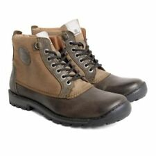 Base London Mens Donald Waxy Leather/Nubuck Olive Brown Lace Up Boots