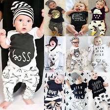 0-24M Newborn Toddler Infant Baby Boys Girls Top Pants 2Pcs/Set Jumpsuit Clothes
