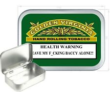 GOLDEN VIRGINIA WARNING SILVER HINGED TOBACCO TIN,CIGARETTE TIN,150 ML PILL TIN