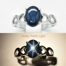 Alluring! 8x6mm Natural 6 Ray Deep Blue Star-Sapphire Ring in 925 Silver