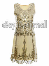 1920s Flapper Dress Vintage Charleston Gatsby Beaded Art Sequin Party Clubwear