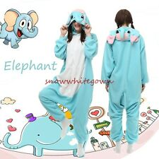 Adult Animal Blue Elephant Onesies Fleece Kigurumi Pajamas Cosplay Sleepwear