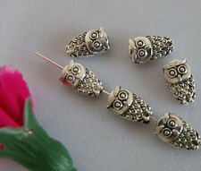 15pcs beautiful Exquisite Tibet Silver Two-Sided Owl Charm Bead Spacer 6x10mm