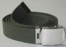NEW ADJUSTABLE OLIVE GREEN CANVAS GOLF MILITARY WEB UNIFORM BELT CHROME BUCKLE