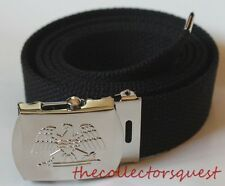 NEW EAGLE ADJUSTABLE BLACK CANVAS GOLF MILITARY WEB UNIFORM BELT CHROME BUCKLE