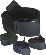 "NEW ADJUSTABLE 52"" INCH ASSORTED CANVAS MILITARY WEB GOLF BELT BLACK BUCKLE"
