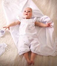 Newborn Girl Baptism 3 Piece Suit White Christening Clothes Baby Girl Outfit