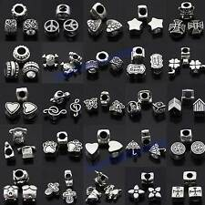Wholesale Tibet Silver Big Hole Spacer Beads Charm Pendant For Bracelet Necklace