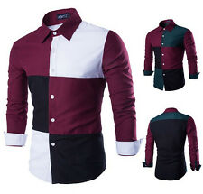 New Fashion Mens Luxury Casual Long Sleeved Hit Color Slim Fit Dress Shirts Tops