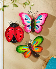 Ladybug Lighted Spring Wall Hangings Butterfly Dragonfly Fence Garden Indoor Art