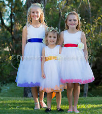Flower Girl Pageant Wedding Party Dress Flowergirl Birthday Petal Size 1-12 yrs