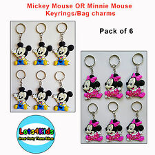 MICKEY MOUSE OR MINNIE MOUSE KEYRING  BAG CHARM PARTY LOOT BAG FILLERS PACK OF 6