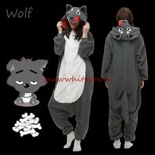 Cute Adult Animal Wolf Onesies Fleece Kigurumi Pajamas Cosplay Unisex Sleepwear