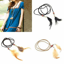 1X Boho Multipurpose Hair Rope Band Tie Feather Tassels Leather Belt Beads Cute