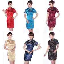 Charming Chinese Women's Dragon&Phoenix Silk Cheongsam Mini Evening Dress Qipao!