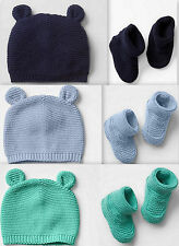 GAP boy/girl/unisex Bear Knit Beanie Hat Booties Blue Green Navy Pink 100%Cotton