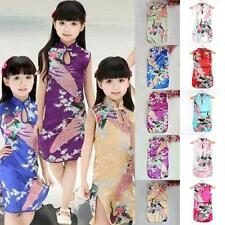 Retro Kids Girls Dress Peacock Floral Cheongsam Chinese Qipao Baby Mini Dress