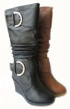 NEW WOMEN FASHION WEDGE SLOUCH BUCKLE MID CALF BOOTS KNEE HIGH ROUND TOE  SHOES