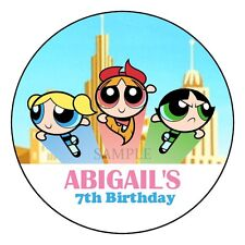 Powerpuff Girls Birthday Party Favor Personalized Round Labels Stickers