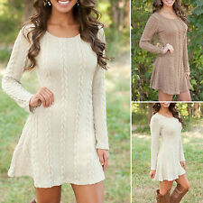 Women Long Sleeve Knitted Sweater Bodycon Skater Dress Pullover Swing Jumper Top