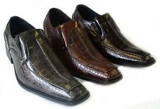 NEW MENS  DRESS SHOES LOAFERS SLIP ON OSTRICH CROCODILE PRINT SHOE HORN/ 3COLORS