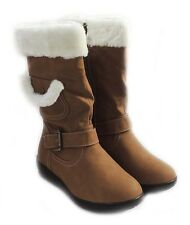 NEW WOMEN MID-CALF FUR LINED FLAT HEEL WINTER SNOW BOOTS COCO-03 /CAMEL