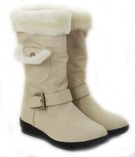 NEW WOMEN MID-CALF FUR LINED FLAT HEEL WINTER SNOW BOOTS COCO-03 / OFF.WHITE