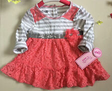 Baby Girl's Dress Long Sleeve Striped Cotton+Orange Lace Dresses Clothes 0-7Year