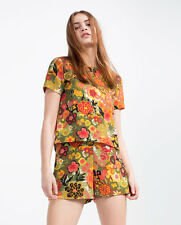 Zara MultiColoured Floral Print Short Sleeves Jumpsuit Playsuit New Round Neck